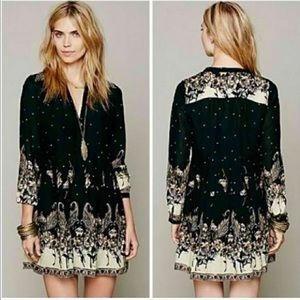 Free People Black Paisley Long Sleeve Dress M